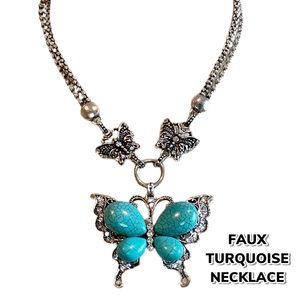Costume Faux Turquoise Butterfly Necklace